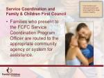 service coordination and family children first council