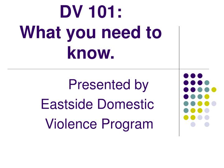 dv 101 what you need to know n.