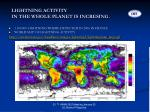 lightning activity in the whole planet is incresing