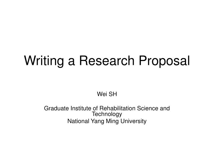 writing a research proposal n.
