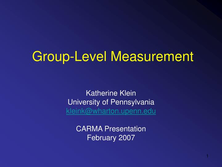 group level measurement n.