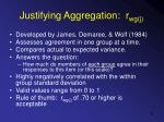 justifying aggregation r wg j