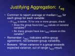 justifying aggregation r wg