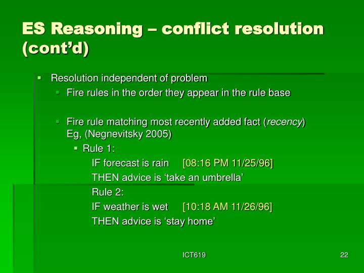 ES Reasoning – conflict resolution