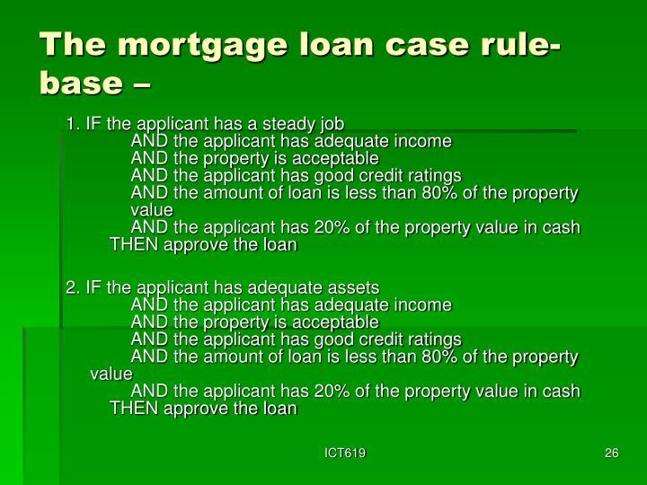 The mortgage loan case rule-base –