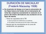 duraci n de macaulay frederik macaulay 1938