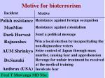 motive for bioterrorism