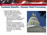 customer benefits disaster relief purchasing