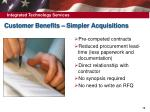 customer benefits simpler acquisitions