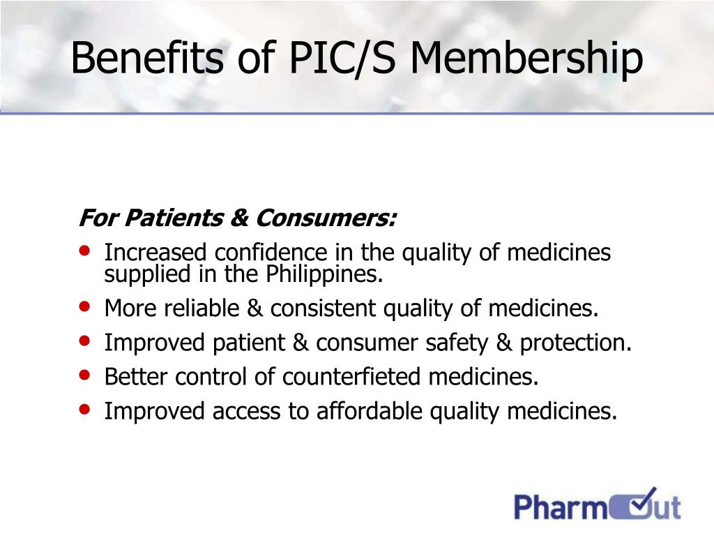 Benefits of PIC/S Membership