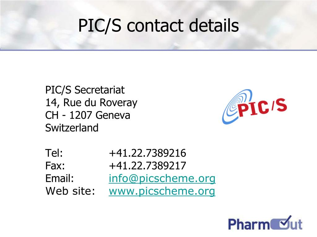 PIC/S contact details