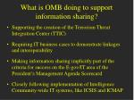 what is omb doing to support information sharing