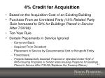 4 credit for acquisition