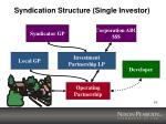 syndication structure single investor