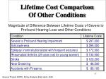 lifetime cost comparison of other conditions