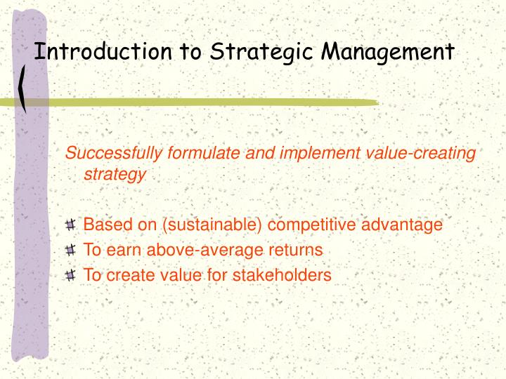 introduction to strategic management n.