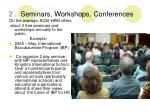 2 seminars workshops conferences