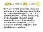 education reform after handover