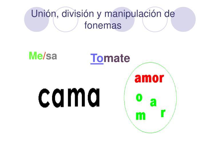 Unión, división y manipulación de fonemas