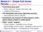 model 5 1 simple call center results one replication sample of size only one