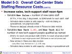 model 5 3 overall call center stats staffing resource costs cont d