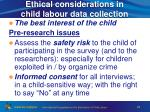 ethical considerations in child labour data collection