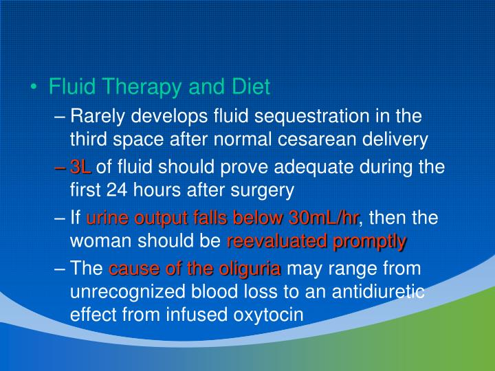Fluid Therapy and Diet