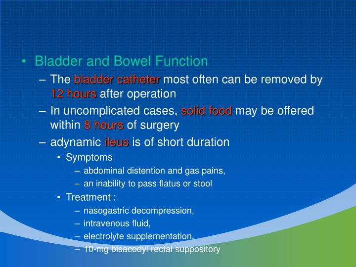 Bladder and Bowel Function