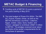 metac budget financing
