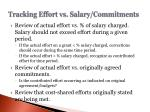 tracking effort vs salary commitments