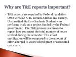 why are t e reports important