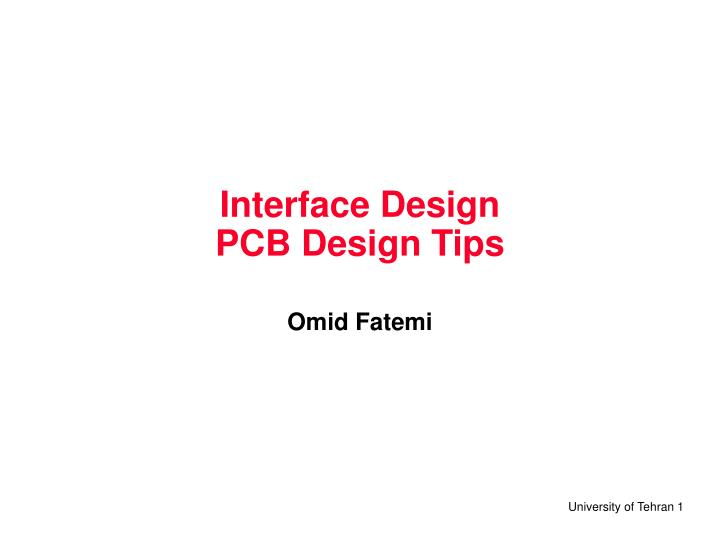 interface design pcb design tips n.