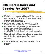 irs deductions and credits for 2007