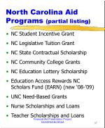 north carolina aid programs partial listing