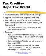 tax credits hope tax credit