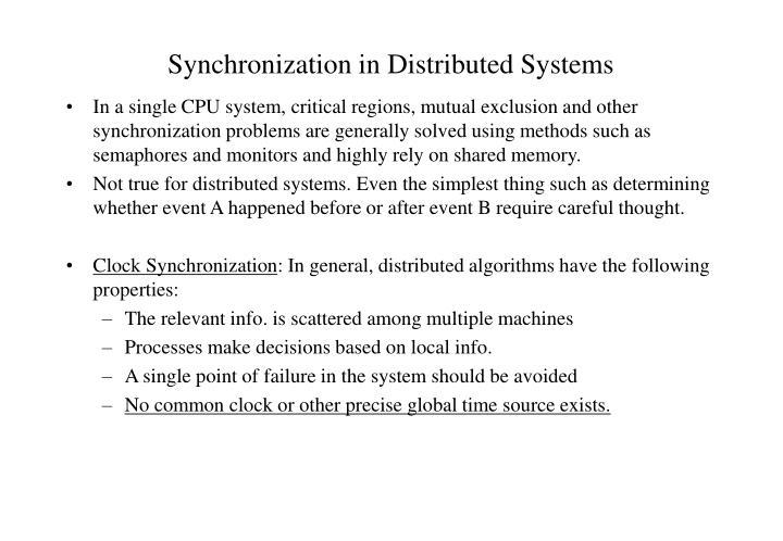 synchronization in distributed systems n.