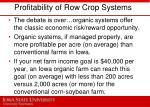 profitability of row crop systems