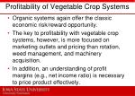 profitability of vegetable crop systems