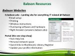 babson resources