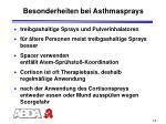 besonderheiten bei asthmasprays