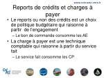 reports de cr dits et charges payer