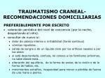 traumatismo craneal recomendaciones domiciliarias