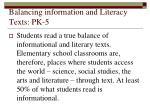 balancing information and literacy texts pk 5