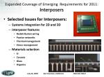 expanded coverage of emerging requirements for 2011 interposers