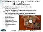 expanded coverage of emerging requirements for 2011 medical electronics