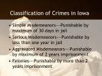 classification of crimes in iowa