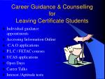career guidance counselling for leaving certificate students