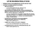 ley de solvencia fiscal n 25152