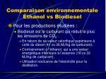 comparaison environnementale thanol vs biodiesel