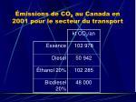missions de co 2 au canada en 2001 pour le secteur du transport